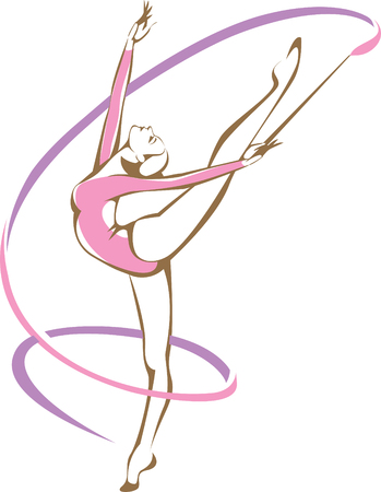 aerobics class: Rhymic gymnast with a ribbon vector drawing