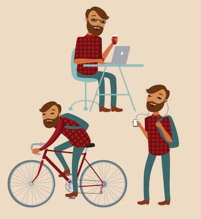 Hipster cartoon character lifestyle set. Vector illustration Vettoriali