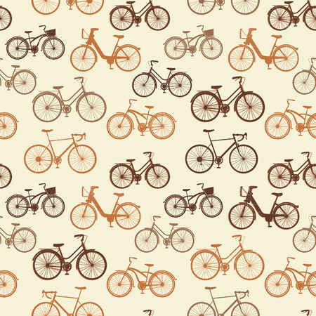 flan: Seamless pattern with vintage bicycles