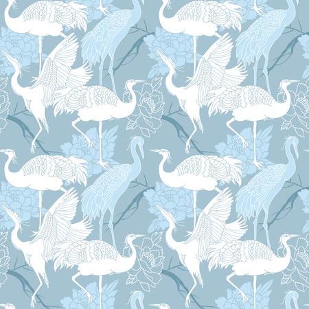 크레인 조류 원활한 라이트 블루 컬러 패턴 일러스트