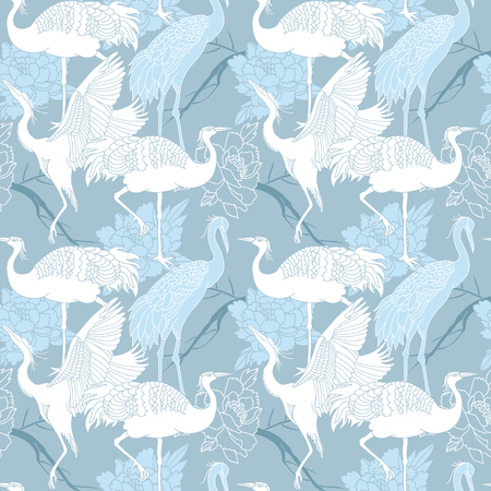 Cranes birds seamless light blue color pattern