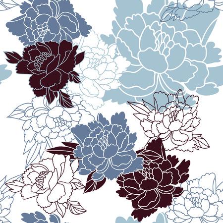 flores chinas: Estilo japonés patrón floral transparente con peonías Vectores