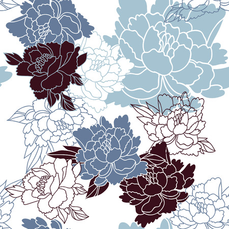 bird: Japanese style seamless floral pattern with peonies