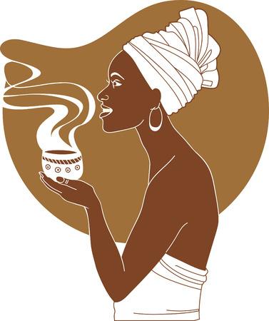 ilustraciones africanas: Africana taza Mujer celebración de café caliente