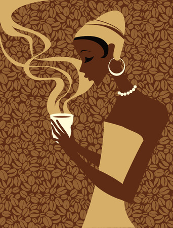hot woman: African woman holding cup of hot coffee