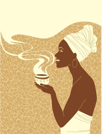 African woman with cup of coffee design with copy space