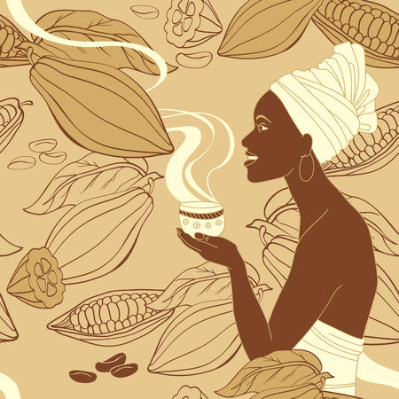 Seamless vector pattern with african woman holding cup of hot cocoa 일러스트