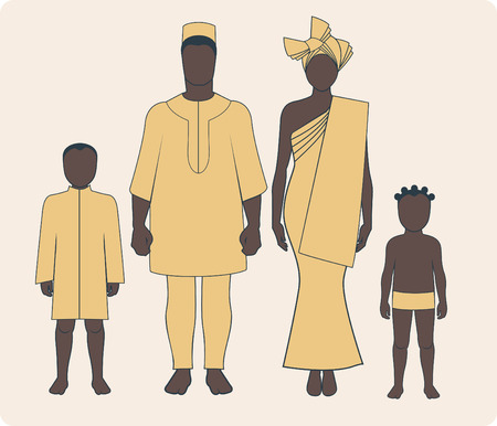 Average african family with two children in traditional clothes