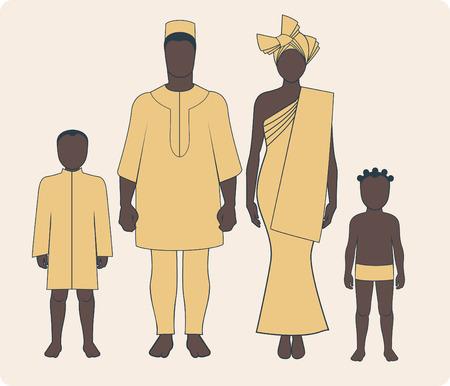 Gemiddeld Afrikaans gezin met twee kinderen in traditionele kleding Stock Illustratie