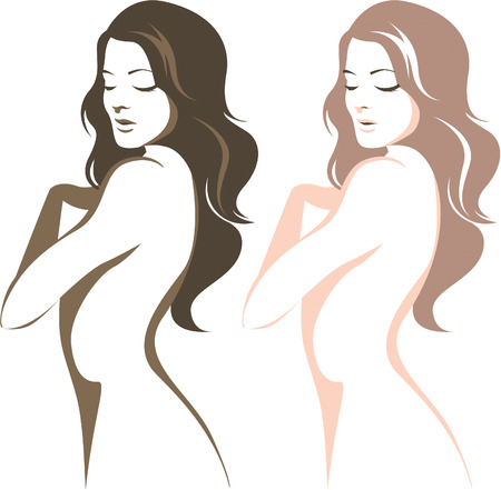 naked female body: Beautiful woman silhouette linear vector drawing