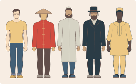 etnia: Grupo de diversas nacionalidades hombres vestidos con ropa tradicional Vectores