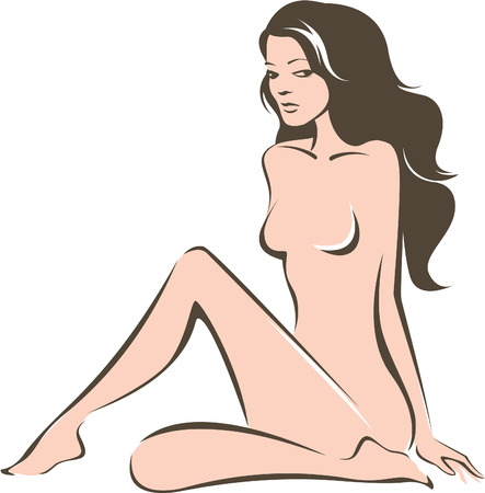 naked woman sitting: Beautiful woman silhouette linear vector drawing