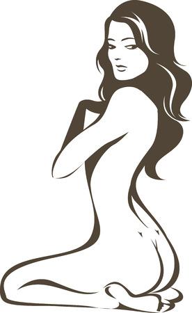 donna nuda: Bella giovane disegno contorno nudo femminile Vettoriali