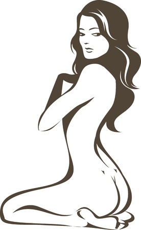 Beautiful young naked female contour drawing Illustration