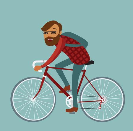 bike vector: Hombre joven inconformista montar en bicicleta. Ilustraci�n vectorial