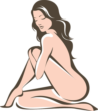 nudity: Beautiful young naked female contour drawing Illustration