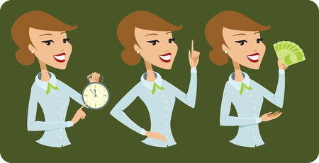 gesturing: Business lady cartoon character Illustration