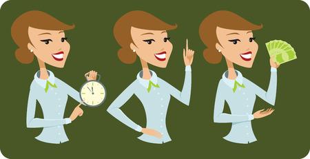 Business lady cartoon character Illustration