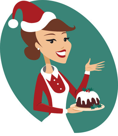 Young woman holding nicely decorated christmas pudding Vettoriali
