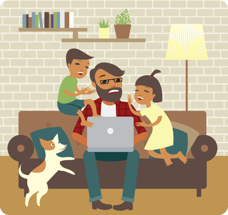Nervous young father trying to work at home Stock Illustratie