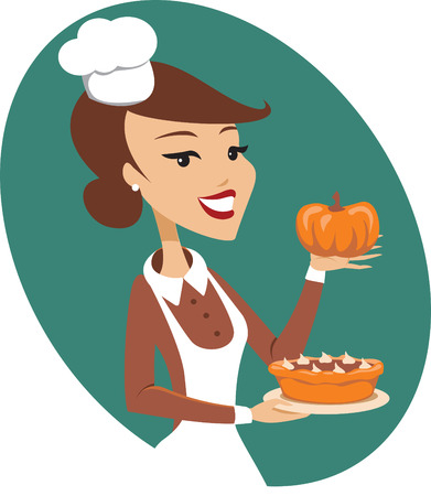 freshly baked: Young lady holding freshly baked homemade pumpkin pie