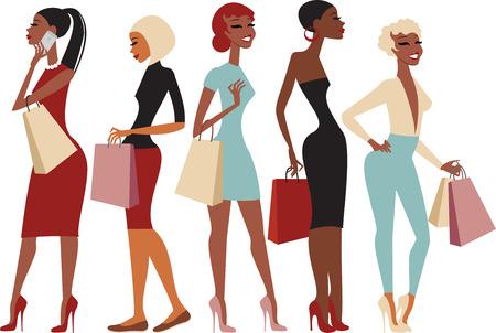 siluetas de mujeres: Grupo de compras de las muchachas jóvenes personajes de dibujos animados