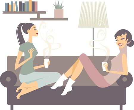 jeunes joyeux: Deux jeunes heureux amies avec des tasses � caf� conversant dans le salon � la maison