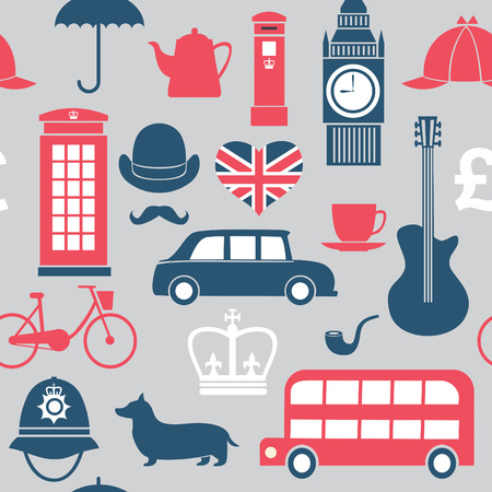 british pound: seamless pattern with Great Britain symbols