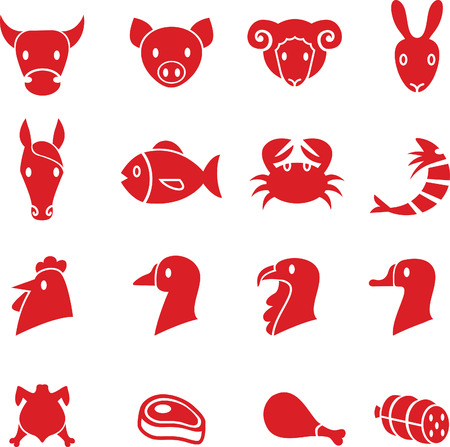 Set of various meat animals icons