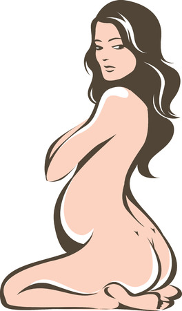 nude woman sitting: Beautiful pregnant female outline drawing