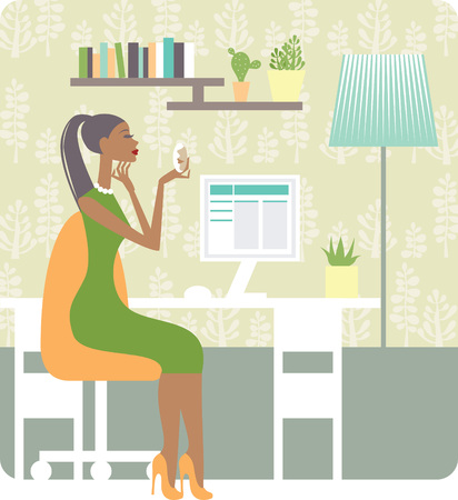 cozy: Beautiful young woman on the cozy workplace Illustration