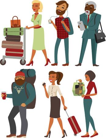 femme valise: Voyageurs personnages de bande dessinée avec des bagages