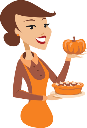Young lady holding freshly baked homemade pumpkin pie