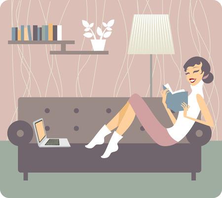 mujer leyendo libro: Joven mujer de relax en el libro de lectura del sofá en el hogar Vectores