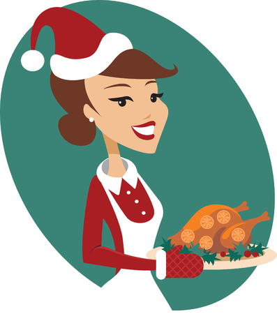 Woman holding freshly roasted homemade christmas turkey