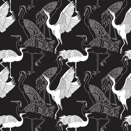 summer in japan: Cranes birds seamless black and white pattern