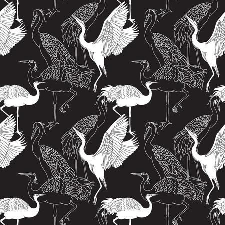 Cranes birds seamless black and white pattern