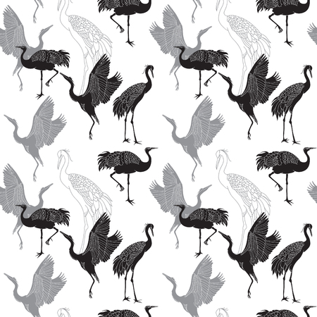 japanese culture: Cranes birds seamless black and white pattern