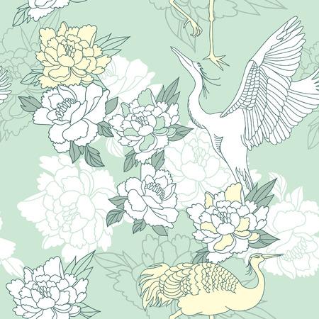 和風シャクヤクとクレーン シームレス花柄  イラスト・ベクター素材