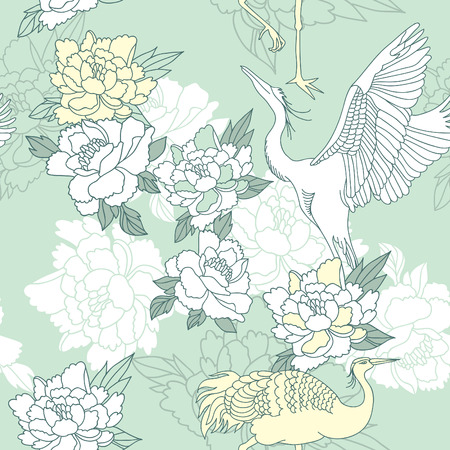 Japanese style seamless floral pattern with peonies and cranes