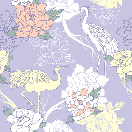 japan pattern: Japanese style seamless floral pattern with peonies and cranes