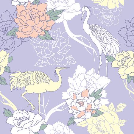 Japanse stijl naadloze bloemmotief met pioenen en kranen