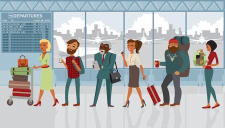 Queue de diverses personnes dans l'aéroport avec des bagages