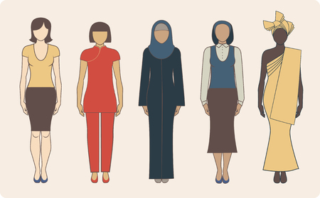 etnia: Grupo de diversas nacionalidades mujeres vistiendo ropa tradicional Vectores