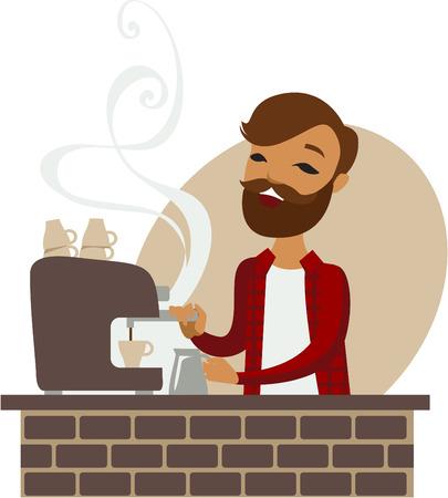 Trendy barista making coffee in coffeeshop Çizim
