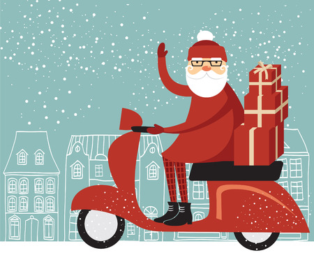 christmas gifts: Santa Claus delivering Christmas gifts on a scooter