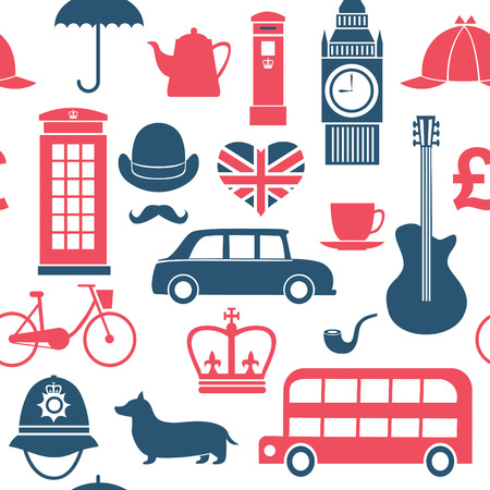 london big ben: set of great britain symbols seamless pattern Illustration