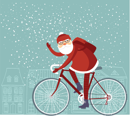 andando en bicicleta: Moderno Santa Claus montado en su bicicleta vectorial Vectores