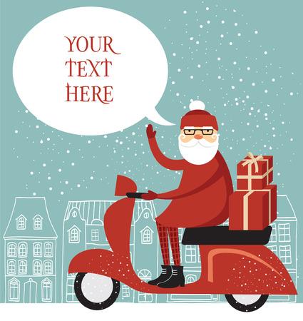 delivering: Trendy Santa delivering christmas gifts on a scooter Illustration