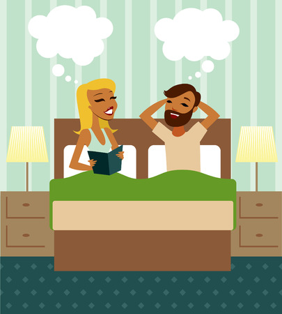 woman lying in bed: Young couple in bed illustration Illustration